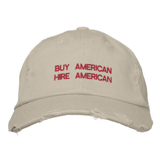 Buy American Hire American Quote Trump Patriot Embroidered Baseball Caps