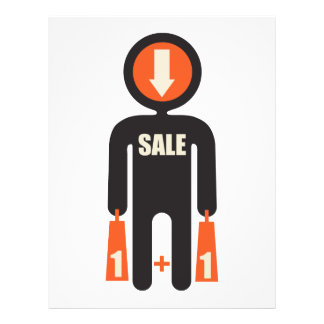 buy one get one free (person with shopping bags) 21.5 cm x 28 cm flyer