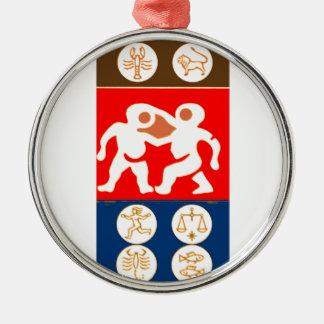 Buy to DISPLAY n ENJOY : ZODIAC ART SYMBOLS Silver-Colored Round Decoration