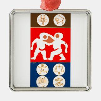 Buy to DISPLAY n ENJOY : ZODIAC ART SYMBOLS Silver-Colored Square Decoration