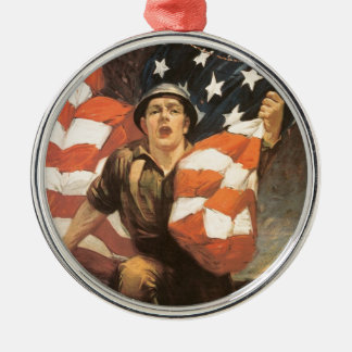 Buy war bonds Silver-Colored round decoration