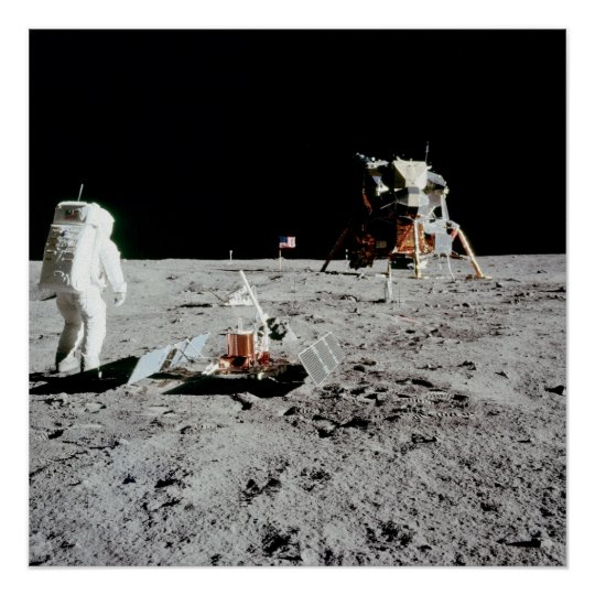 Buzz Aldrin and Lunar Module on the Moon