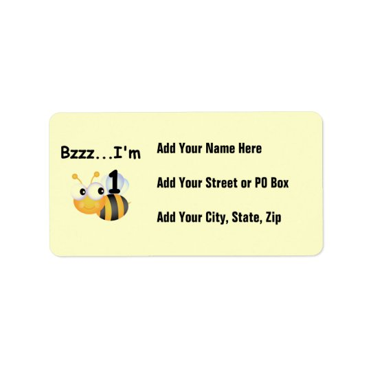 Buzz Bumblebee 1st Birthday T-shirts and Gifts Address Label