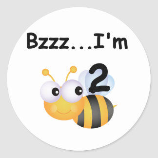 Buzz Bumblebee 2nd Birthday T-shirts and Gifts Round Sticker