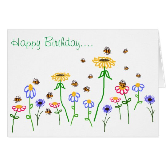 BuzzAboutBees Happy Birthday Bee Garden Greeting Card