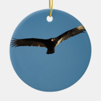 Buzzard in Flight 1 Double-Sided Ceramic Round Christmas Ornament