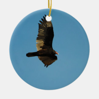 Buzzard in Flight 2 Double-Sided Ceramic Round Christmas Ornament