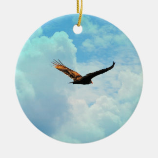 Buzzard in Flight 3 Double-Sided Ceramic Round Christmas Ornament