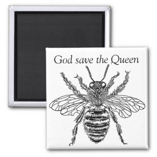 buzzart bee queen square magnet