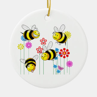 Buzzed Bees in Flowers Christmas Ornament