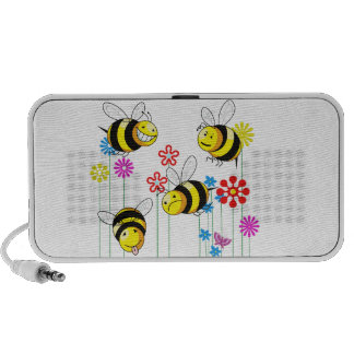 Buzzed Bees in Flowers Mini Speakers