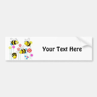 Buzzed Bees in Garden Flowers Bumper Sticker