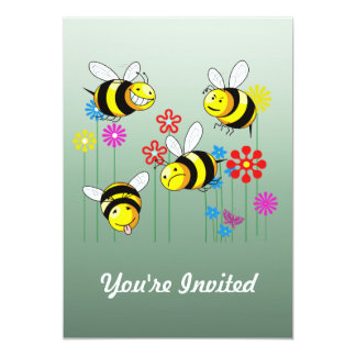 "Buzzed Bees in Garden Flowers 5"" X 7"" Invitation Card"