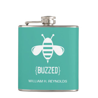 {BUZZED} Bridal Party Buzzed Bee Gift (aqua) Hip Flask