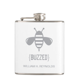 {BUZZED} Bridal Party Buzzed Bee Gift (grey) Hip Flask