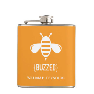 {BUZZED} Bridal Party Buzzed Bee Gift (orange) Hip Flask
