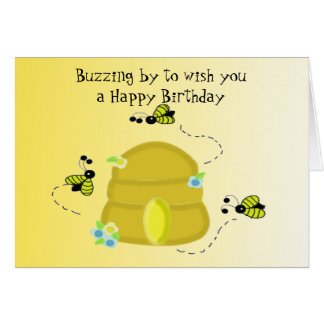 Buzzing Bee's Birthday Wishes Note Card