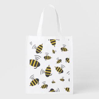 Buzzing Bumble Bee Cartoon Market Totes