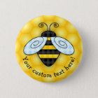 Buzzing Bumblebee and Honeycomb Icon 6 Cm Round Badge