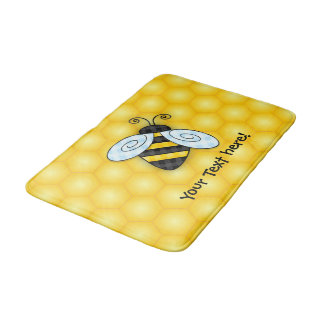 Buzzing Bumblebee and Honeycomb Icon Bath Mat