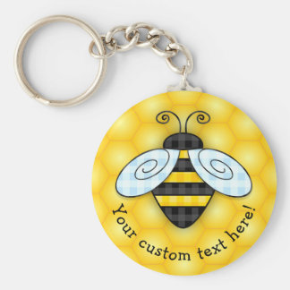 Buzzing Bumblebee and Honeycomb Icon Key Ring