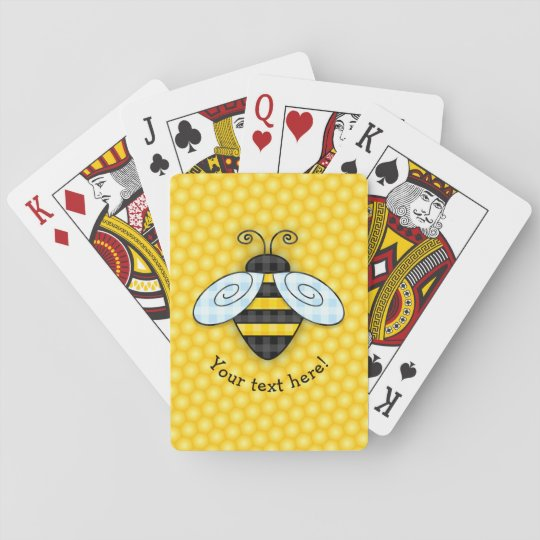 Buzzing Bumblebee and Honeycomb Icon Playing Cards