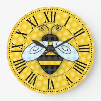 Buzzing Bumblebee and Honeycomb Icon Sans text Large Clock