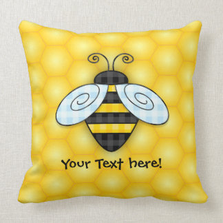 Buzzing Bumblebee and Honeycomb Icon Throw Pillow