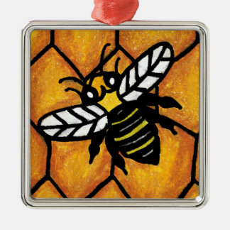 Buzzing Cute Bee Honeycomb Christmas Ornament