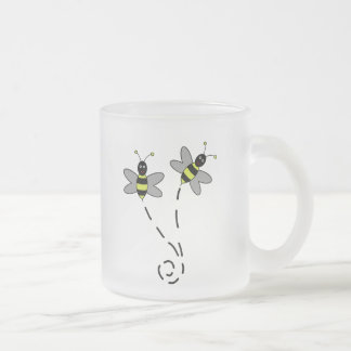 Buzzy Bumble Bees Frosted Glass Mug