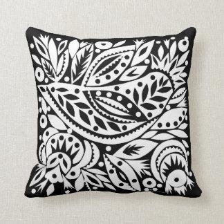 BW Bird Art Cutouts Reversible Pillow