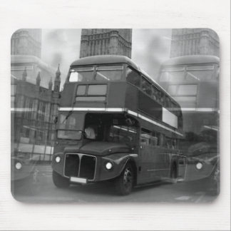 BW Black & White London Bus & Big Ben Mouse Mat