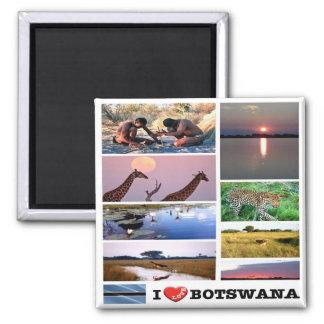BW - Botswana - I Love - Collage Magnet