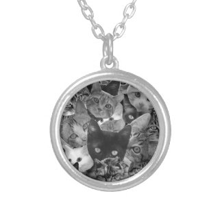 BW Cat Collage Round Pendant Necklace