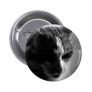 BW Cat Face 6 Cm Round Badge