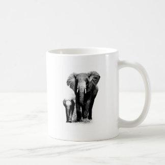 BW Elephant & Baby Elephant Basic White Mug