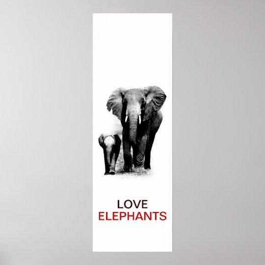 BW Elephant & Baby Elephant Poster