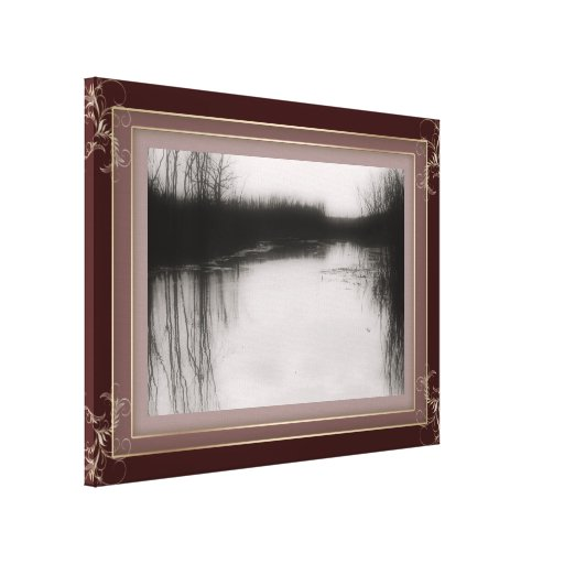 BW Flooded Field Photo Stretched Canvas Stretched Canvas Print