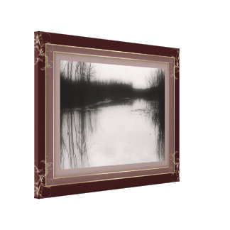 BW Flooded Field Photo Stretched Canvas Canvas Print