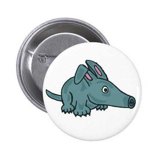BW- Funny Aardvark Button