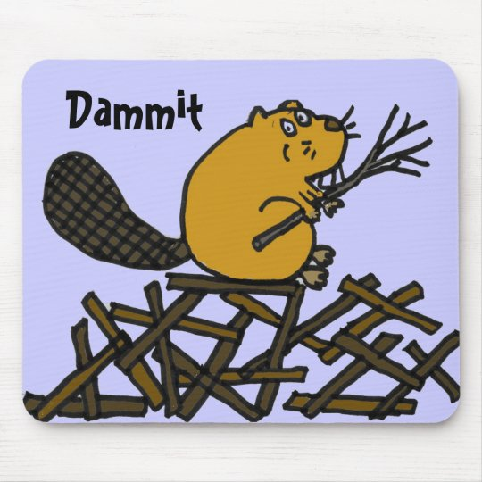 BW- Funny Beaver Mousepad