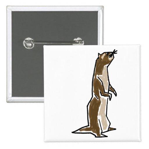 BW- Funny Ferret Cartoon Button