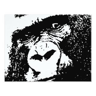 BW Gorilla Face 11 Cm X 14 Cm Invitation Card