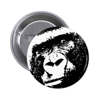 BW Gorilla Face 6 Cm Round Badge