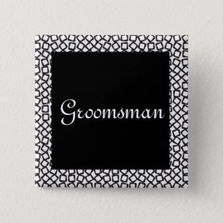 BW Groomsman 15 Cm Square Badge