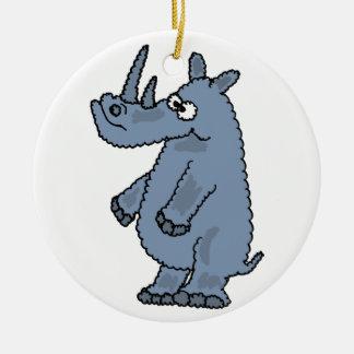 BW- Grumpy Rhino Ornament