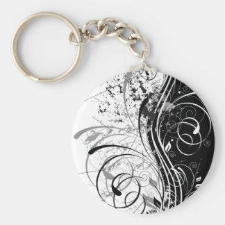 BW grunge Basic Round Button Key Ring