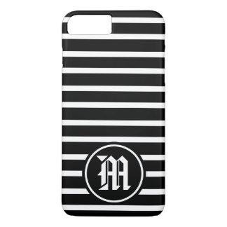 BW Horizontal Striped Monogram iPhone 7 Plus Case