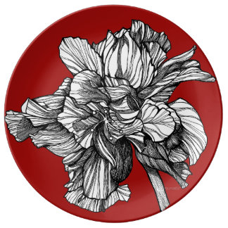 BW Hybrid Hibiscus China Red Porcelain Plate