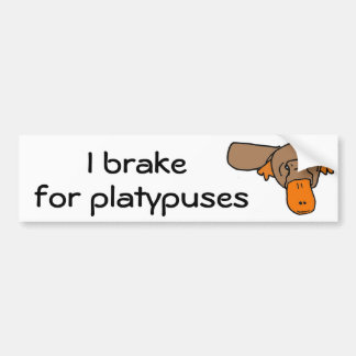 BW- I brake for platypuses Bumper Sticker
